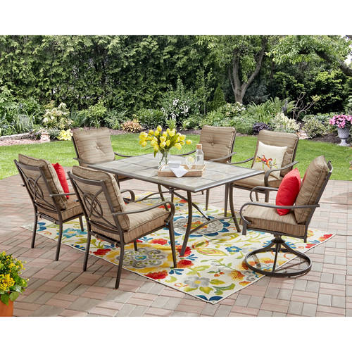 Mainstays Charleston Park 7-Piece Dining Set, Brown