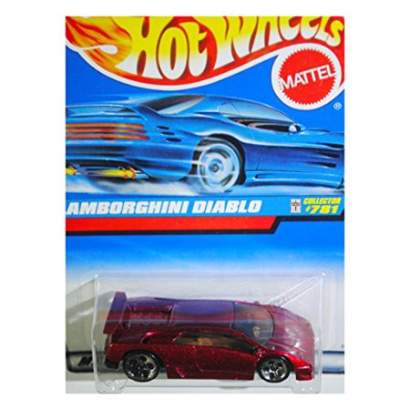 Hot Wheels 1998 Red Lamborghini Diablo  781 W  Blue Car On Card   5 Hole Wheels