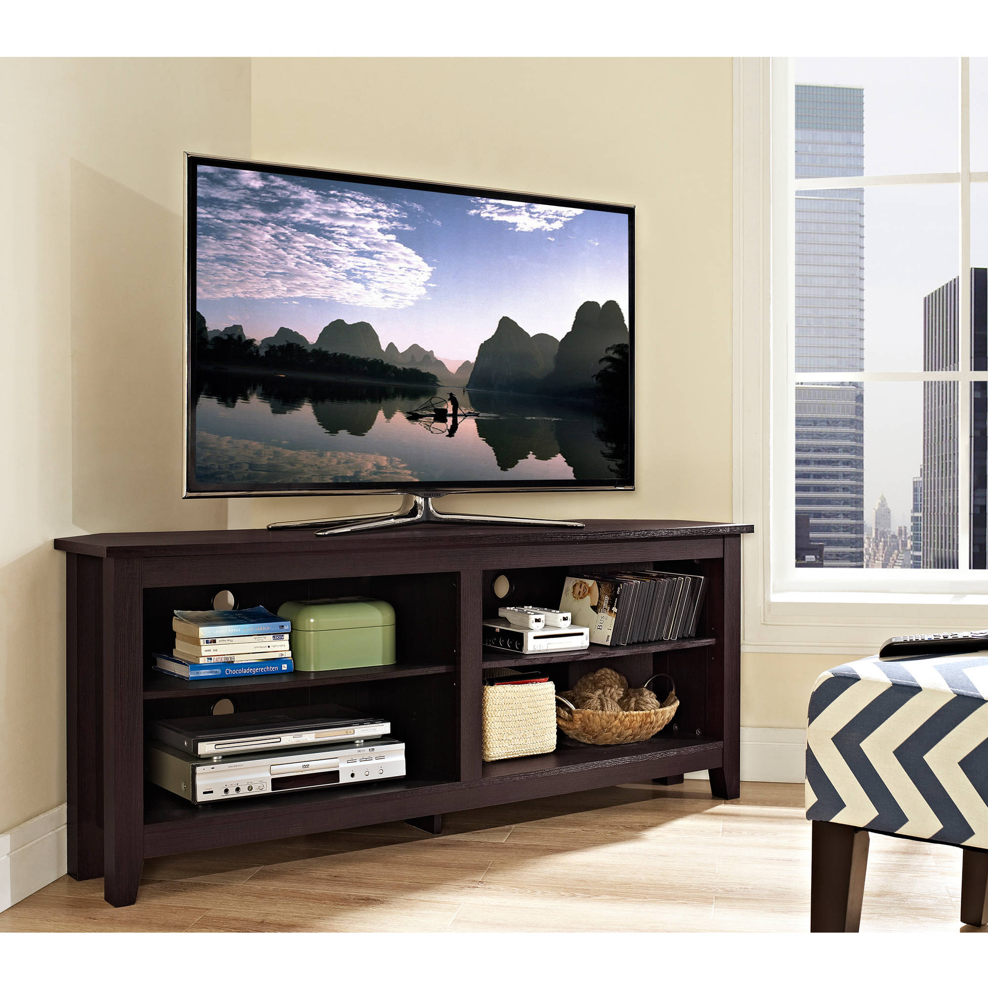 Walker Edison Corner Tv Stand Console For S Up To 64 Espresso