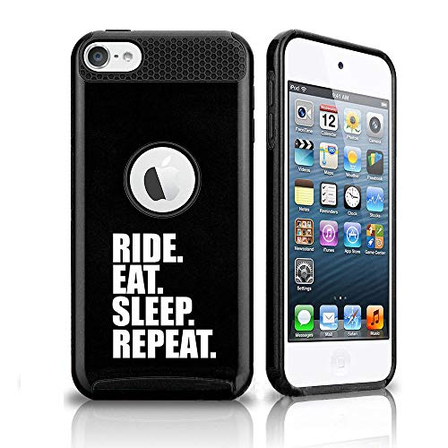 Shockproof Impact Hard Soft Case Cover for Apple (iPod Touch 5th / 6th) Ride Eat Sleep Repeat Bike MX (Black)