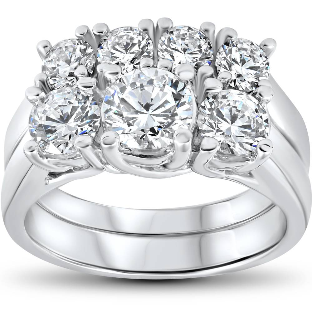 3 Ct Diamond Engagement Wedding Ring Set Stone Matching Band 14k White Gold