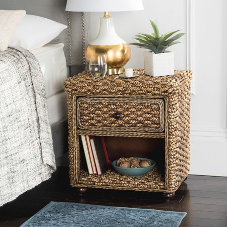 Safavieh Musa Braided Wicker 1-Drawer Nightstand, Brown Washed