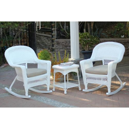 3-Piece Ariel White Resin Wicker Patio Rocker Chairs and Table Furniture Set - Tan Cushions