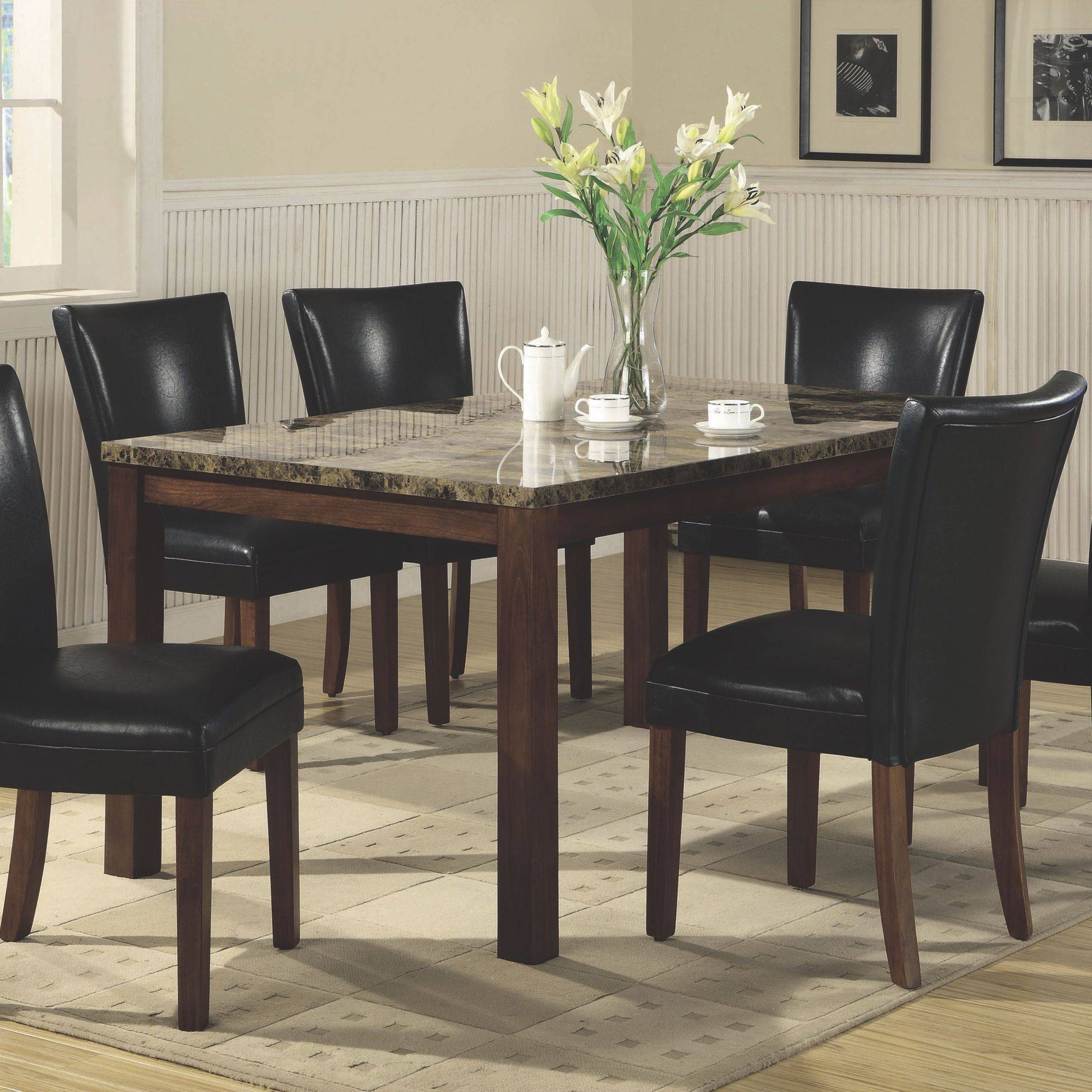 "Coaster Company Telegraph Faux Marble Dining Table, Brown ""Chairs Sold Separately"""