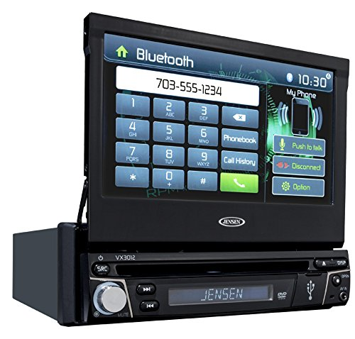 Jensen Vx3012 1 Din Multimedia Receiver, 7-Inch Touch Screen With Bluetooth And Built-In Usb Port - Black