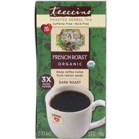Teeccino  Organic Roasted Herbal Tea  French Roast  Dark Roast  Caffeine Free  25 Tea Bags  5 3 oz  150 g