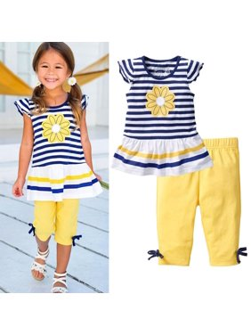 2Pcs Baby Girls Kids Flower T-Shirt Tops+Shorts Pants Outfits Summer Clothes 1-8Y