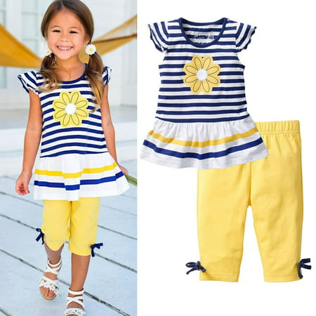 Flower Girl Clothes (2Pcs Baby Girls Kids Flower T-Shirt Tops+Shorts Pants Outfits Summer Clothes)