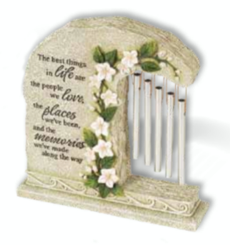 "8.5"" Religious Memorial Outdoor Garden Stone with Flowers and Wine Chimes"