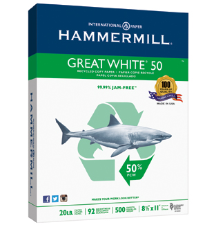 Hammermill Great White 50% Recycled 500 ct ream