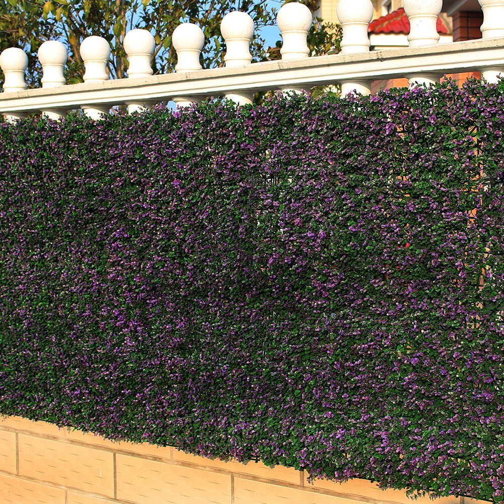 ULAND 6 Piece Artificial Boxwood Hedge Mat, Long Purple Leaves, Outdoor Wall Decoration,... by