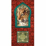 Leopard Jungle Cat Keyhole Moroccan Pattern Abstract Tile Painting Red & Blue Canvas Art by Pied Piper Creative