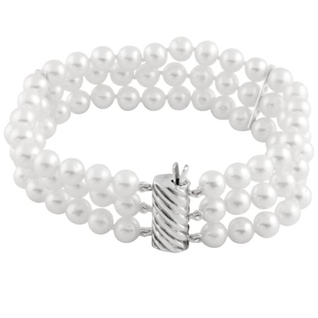 Triple Row White Freshwater Pearl Bracelet (5-6 (Row White Freshwater Pearls)