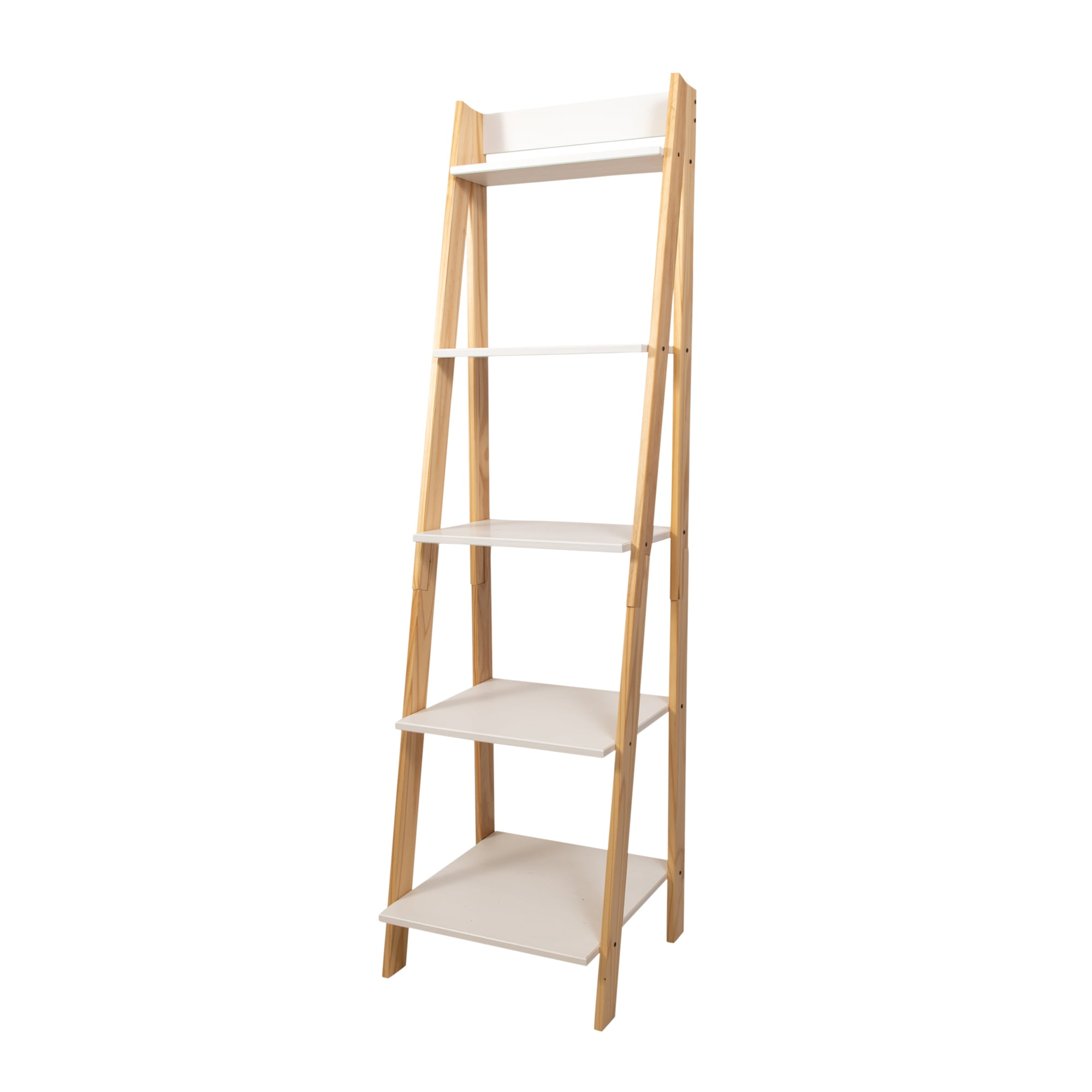 Adeptus Solid Wood Split 5 Shelf Ladder Natural Legs White Shelves Walmart Com Walmart Com