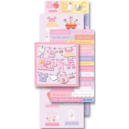 K & Company Flip Pack Sticker Embellishments, Baby Girl