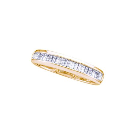 14k Yellow Gold Womens Baguette Diamond Wedding Anniversary Band Ring 1/6 Cttw ()