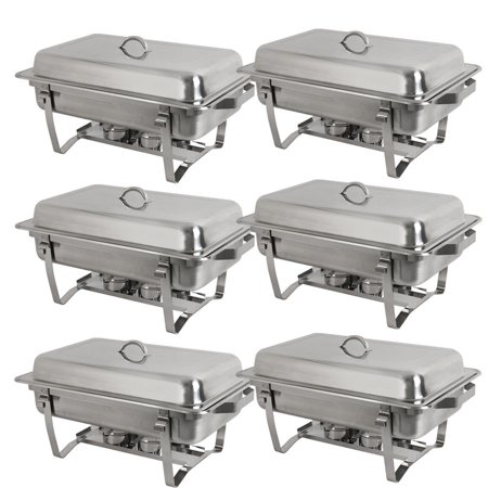 Zeny 6 Pack 8 Quart Stainless Steel Rectangular Chafing Dish Full Size Buffet Catering - Party City Chafing Dishes