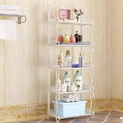Nordic Style 3/4/5 Tiers Folding Iron Kitchen Organizer Large Capacity Bathroom Bedroom Rack Freestanding Book Shelf