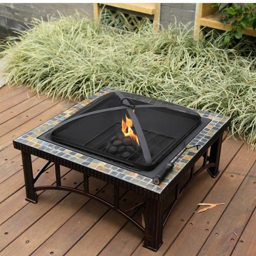 Corvus  Belmont 30-inch Fire Pit with Slate Top and Hand-painted Brushed Bronze Finish