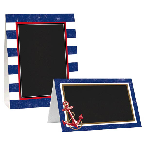 Summer 'Nautical Anchors Aweigh' Paper Chalkboard Tent Cards (8ct)