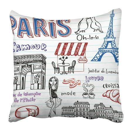 WOPOP Arc Paris Doodles Triomphe Bench Bird Bistro Bread Chair Cheese Pillowcase Pillow Cover 18x18 inches ()