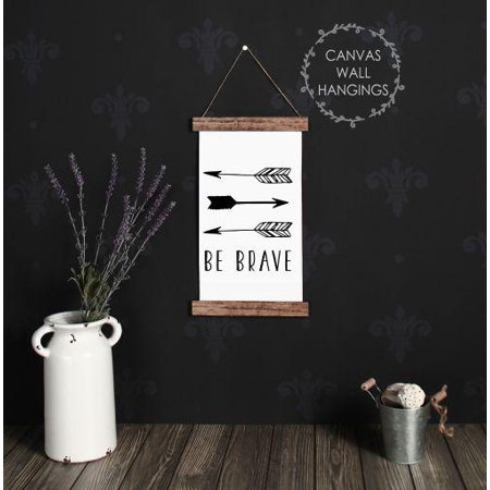Nursery Decor Wood (Wood Canvas Sign Wall Hanging, Be Brave Woodland Nursery Wall Art 9x15-Inch )