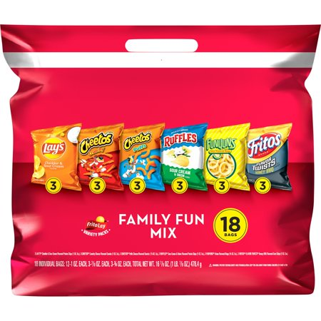 Frito Lay Family Fun Mix Snacks Variety Pack, 18 bags White Classic Chip