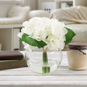 Floral arrangements hydrangea artificial floral arrangement with vase and faux water fake flowers for home decor mightylinksfo