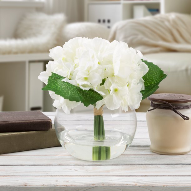 Hydrangea Artificial Floral Arrangement With Vase And Faux Water Fake Flowers For Home Decor Weddings Shower Centerpiece By Pure Garden White Walmart Com Walmart Com