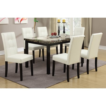 Modern White PU Tufted Side Chairs Espresso Wood Finish Faux Marble Table Top 7pcs Dining Set Dining Table Kitchen Dining Room