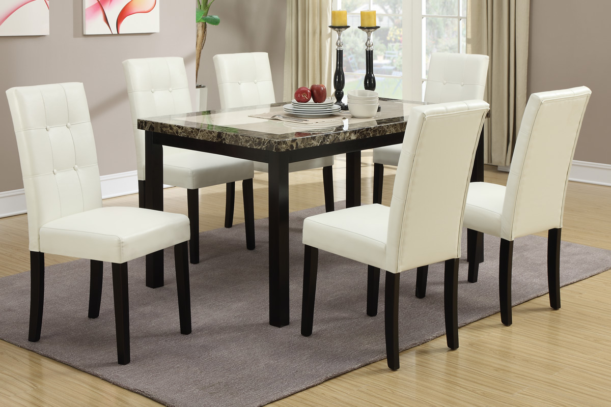 Luxury Look Two Tone Faux Marble Top Table Casual 7pc Dining Set In White  Color Chairs