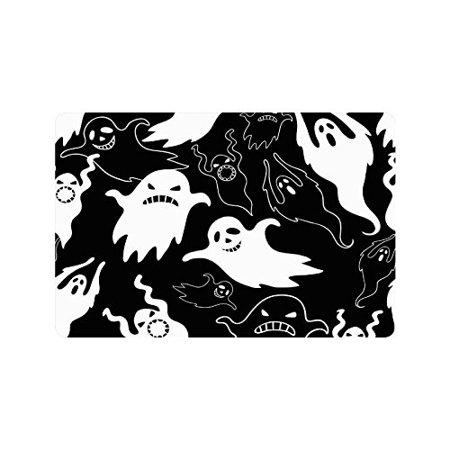 CADecor Black and White Door Mat Home Decor, Halloween Scary Ghost Indoor Outdoor Entrance Doormat 23.6x15.7 - Halloween Entrance