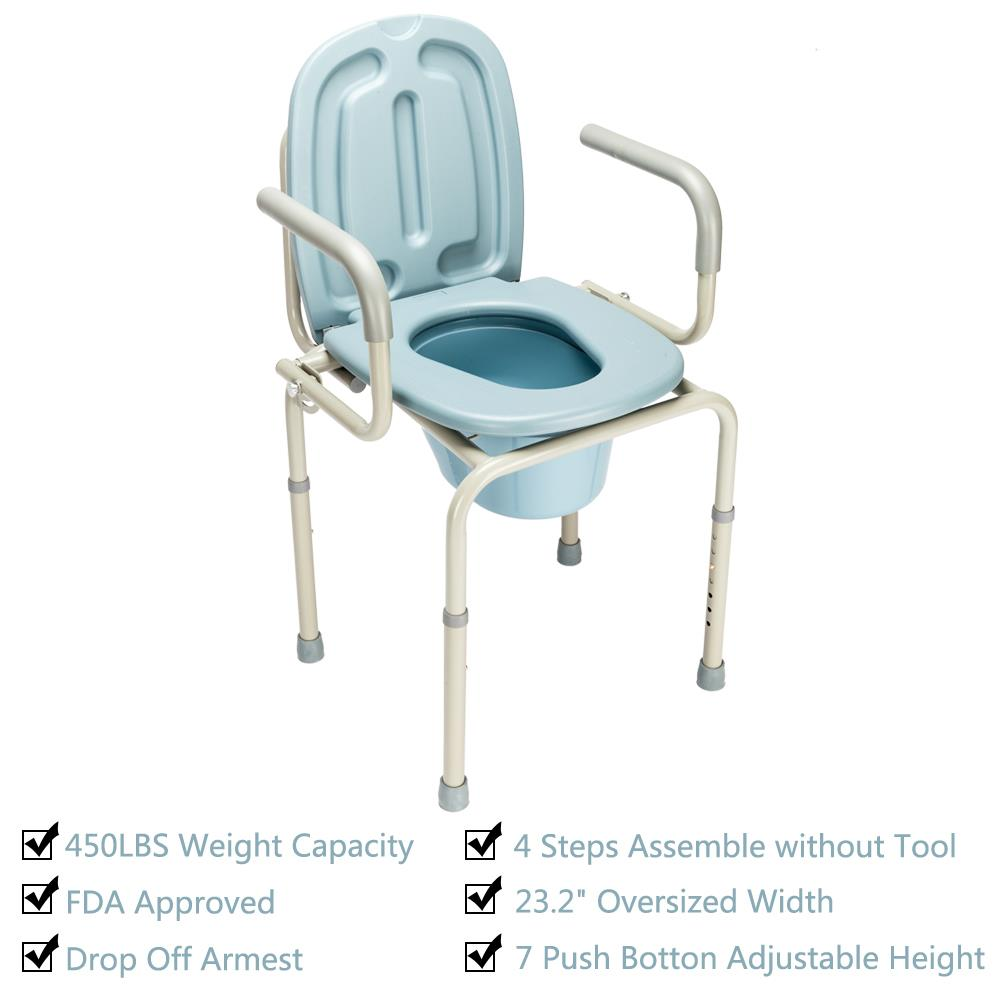 Ktaxon Medical Beside Commode Chair Toilet Bath Show Seat with Safety Steel Frame