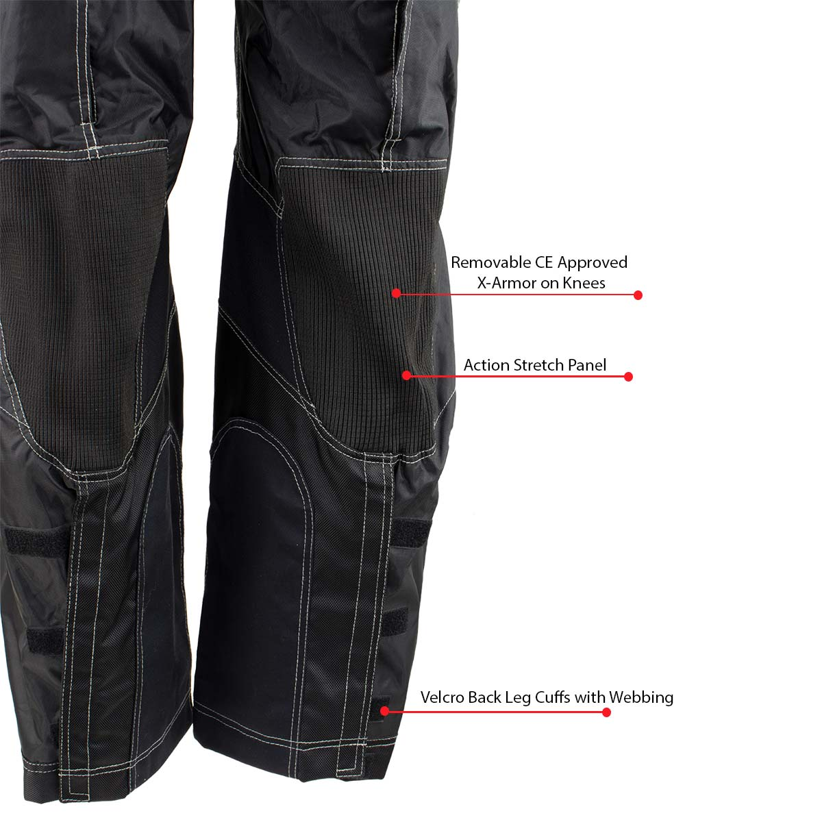 Xelement Black Tri-Tex White Stitched Fabric Motorcycle Pants 34 36 40 42