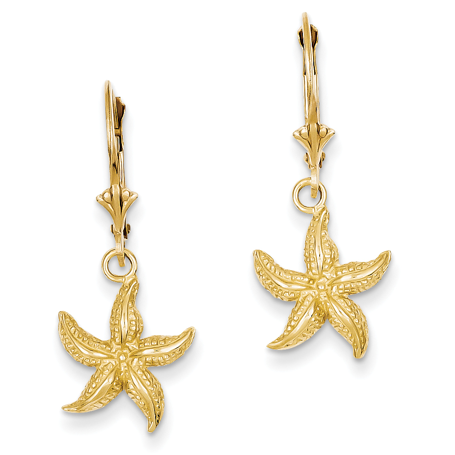 14K Starfish Leverback Earrings K4426 - image 2 of 2