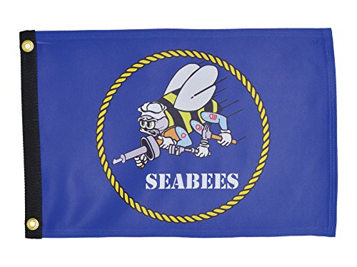 Click here to buy In the Breeze Navy Seabees Lustre Grommeted Boat Flag, 12 by 18-Inch by In The Breeze.