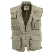 Khaki Deluxe Safari Outback Vest for Travel, Sportsmen, Concealed Carry, Large