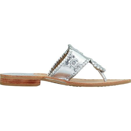 d16bab082605 Jack Rogers Women s Hamptons Flat Leather Platinum Ankle-High Sandal - 7.5M  - image ...