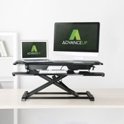 "AdvanceUp 2-tier 37.4"" Wide Standing Desk Converter, Support 33 Lbs, Height Adjustable Dual Monitor Sit Stand Workstation"