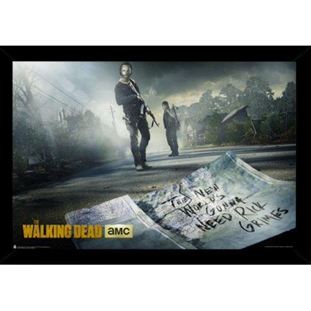The Walking Dead Season 5 Poster In A Black Wood Frame 24x36
