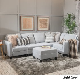 Surprising 2 Piece Modern Reversible Grey Tufted Microfiber Sectional Sofa With Ottoman Machost Co Dining Chair Design Ideas Machostcouk