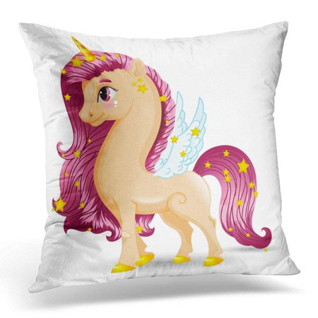 Yellow Pony Spring - CMFUN Colorful Animal Sweet Unicorn Beige Pony Character with White Blue Wings and Golden Hooves on 10 Yellow Pillow Case Pillow Cover 20x20 inch
