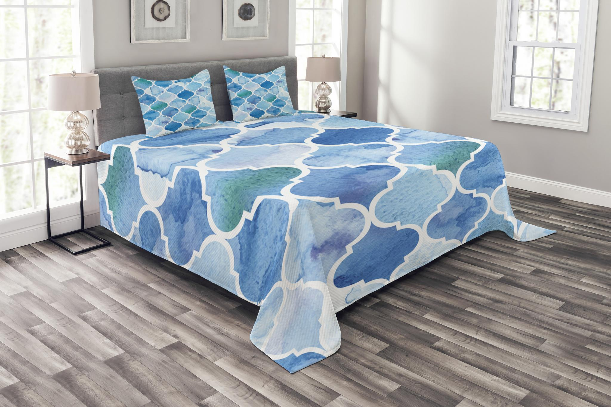Coverlet Set with Shams Quilted Bed Cover Decorative Bedspread by Ambesonne
