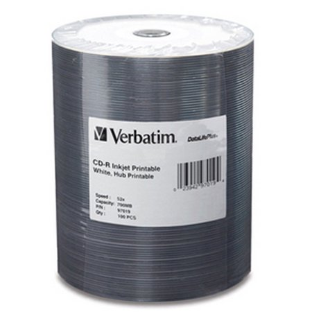VERBATIM CORPORATION 97019 100PK CD-R 52X 700MB WHITE INKJET HUB PRINTABLE TAPE WRAP