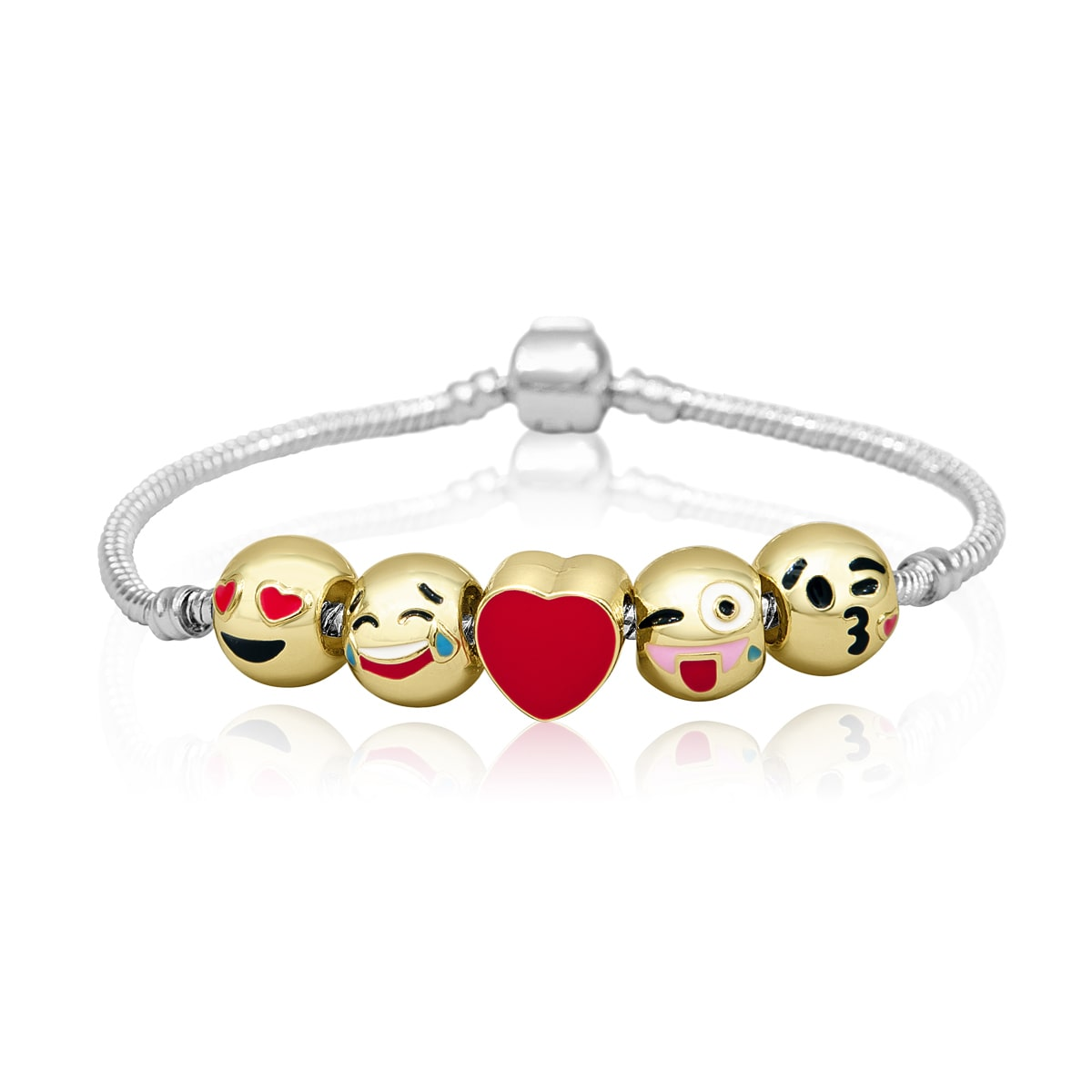 18K Gold Plated Emoji Charm Bracelet 5 Charms Total!