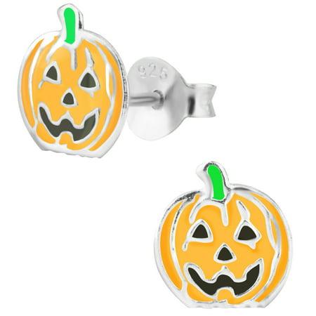 Hypoallergenic Sterling Silver Halloween Jack-O-Lantern Pumpkin Stud Earrings for Kids (Nickel Free) ()