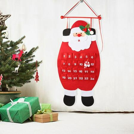 Countdown to Christmas Calendar Indoor Christmas Decorations 3D Santa Felt Advent Calendar 2019 NEW ()