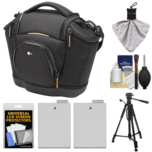 Case Logic Digital SLR Medium Shoulder Camera Bag/Case (Black) (SLRC-202) + (2) LP-E8 Batteries + Tripod + Accessory Kit for Canon EOS Rebel T2i, T3i & T4i