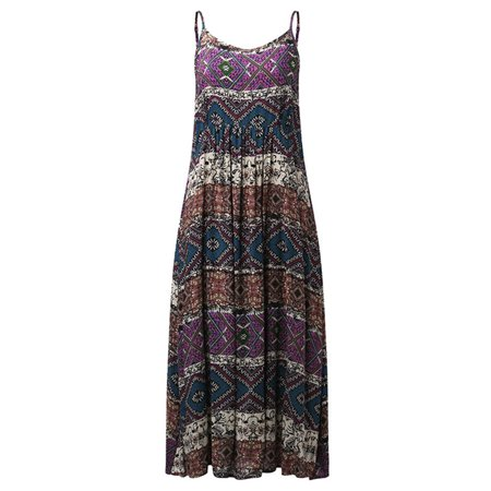 Women Bohemia Beach Print Sleeveless Casual Loose Long Maxi Dress