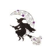 """24"""" Black and Purple Glittered Witch on Broom Halloween Wall Decoration"""